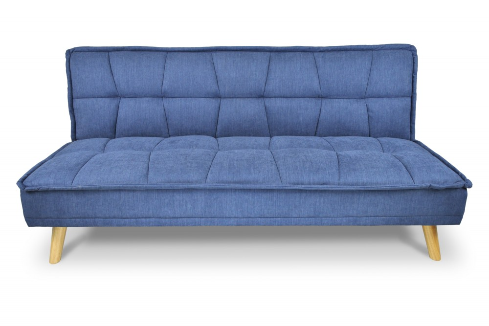 Divano letto clic clac in tessuto vellutato blu, divano 3 posti mod. Bart Arredo