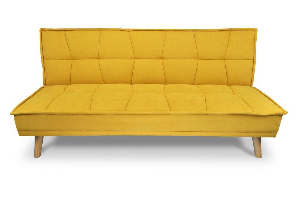 Divano letto clic clac in tessuto vellutato giallo, divano 3 posti mod. Bart Arredo
