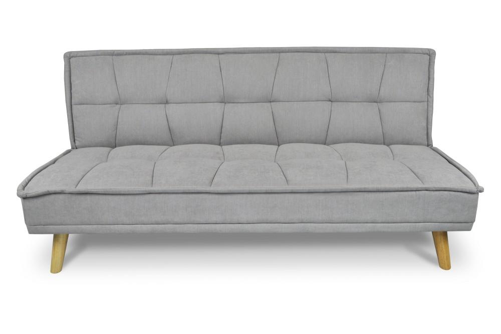 Divano letto clic clac in tessuto vellutato grigio, divano 3 posti mod. Bart Arredo