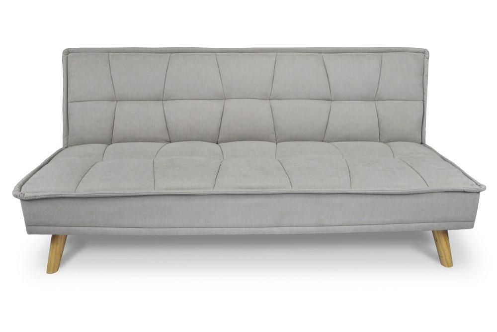 Divano letto clic clac in tessuto vellutato tortora, divano 3 posti mod. Bart Arredo