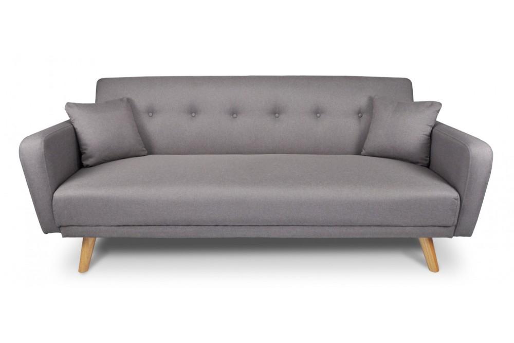 Divano letto clic clac in tessuto tortora, divano 3 posti mod. Henry Arredo