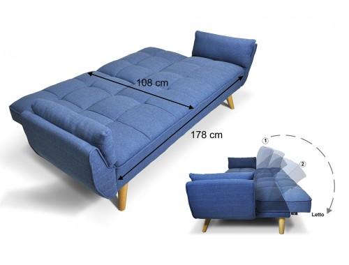 Divano letto in tessuto blu Divanetto 3 posti mod.Ambra rivestito in tessuto.