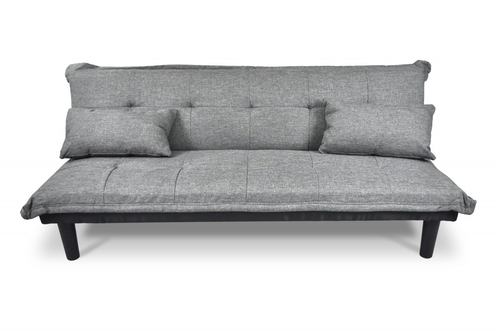 Divano letto clic clac, divanetto Russell in tessuto grigio chiaro Arredo