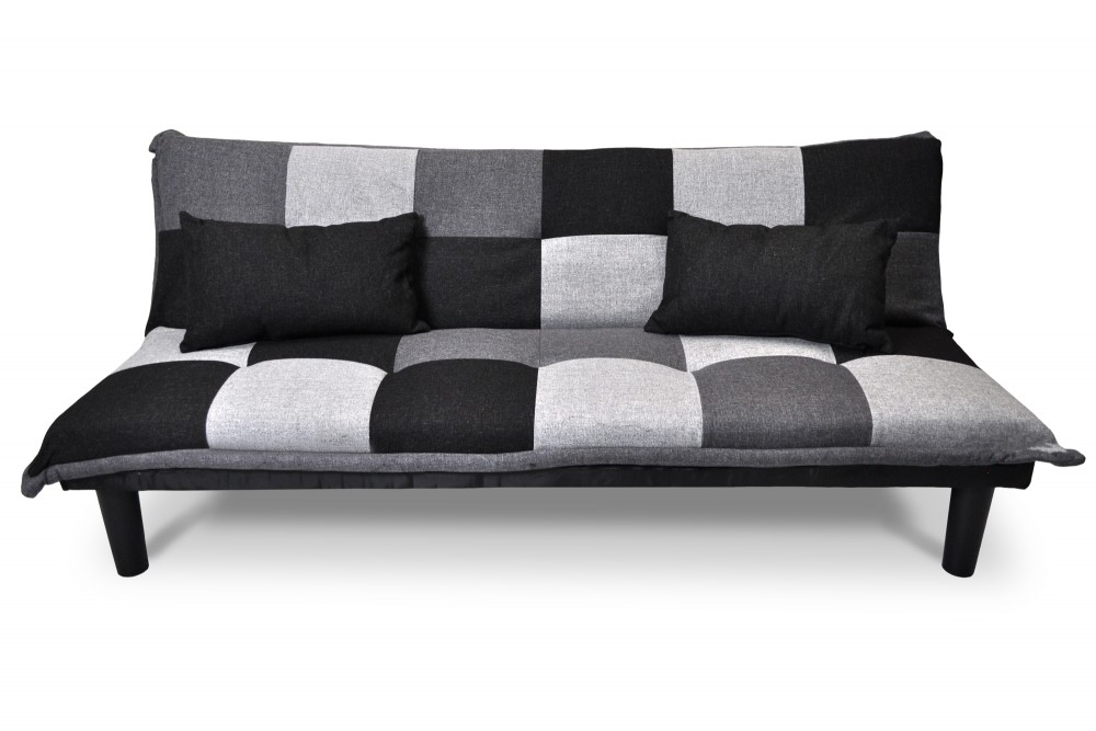 Divano letto clic clac Russell, in tessuto grigio scuro-chiaro-nero Arredo