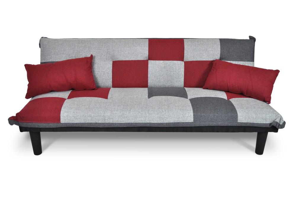 Divano letto clic clac Russell in tessuto grigio scuro-chiaro-rosso Arredo