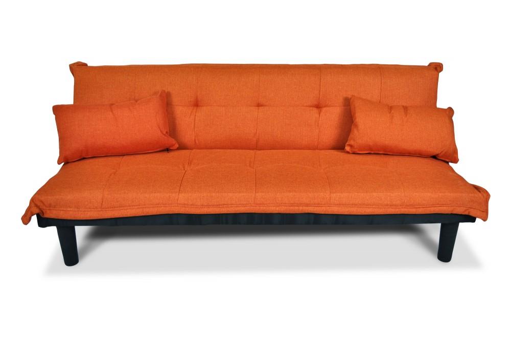 Divano letto clic clac, divanetto Russell in tessuto arancione Arredo