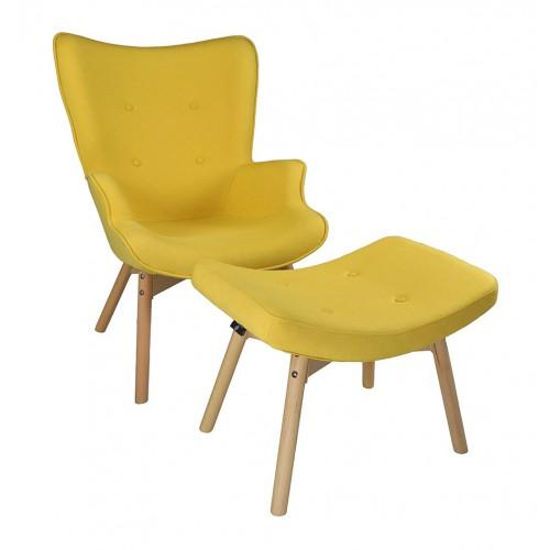 Poltrona con pouf poggiapiedi giallo in stile scandinavo con piedi in legno Arredo