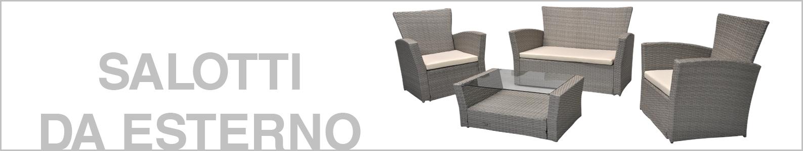 Salotto da giardino in rattan, set di divani da esterno in polyrattan bianco Aurora