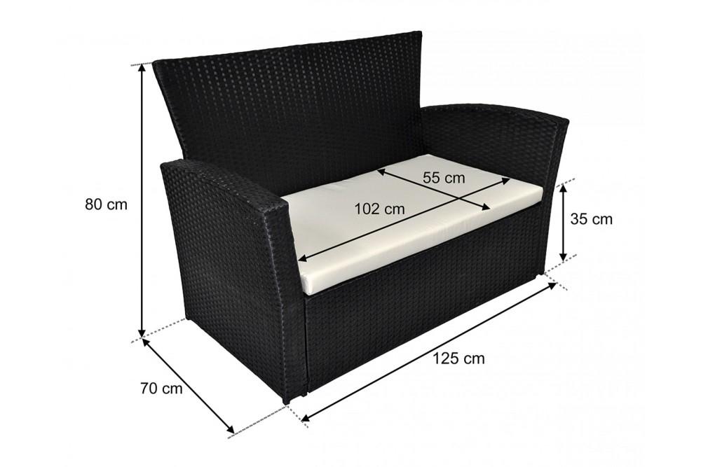 Salotto da giardino in rattan, set di divani da esterno in polyrattan nero Aurora