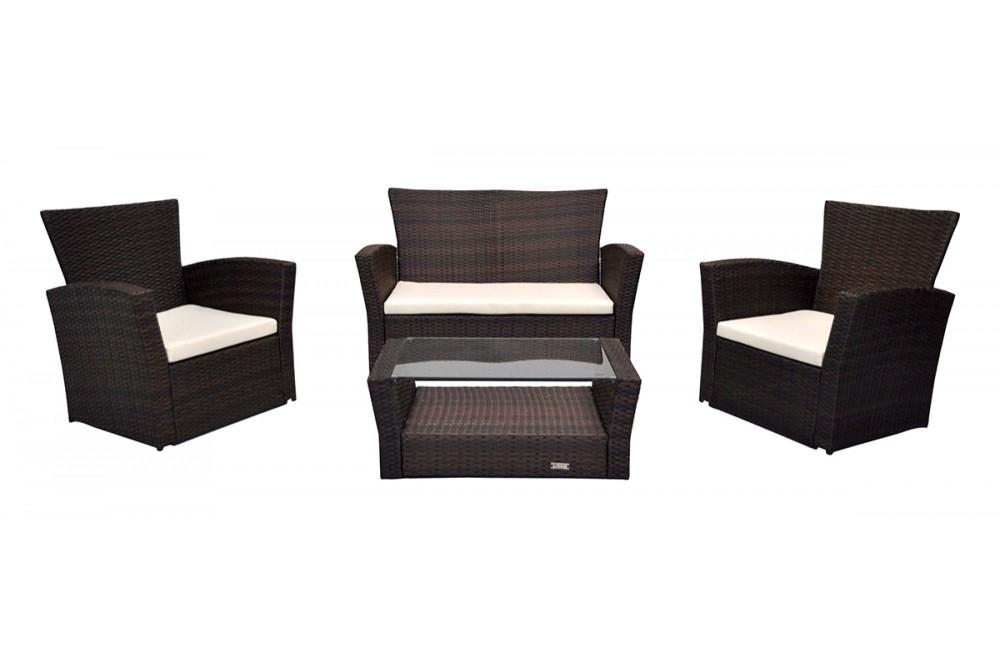 Salotto da giardino in rattan, set di divani da esterno in polyrattan marrone Aurora