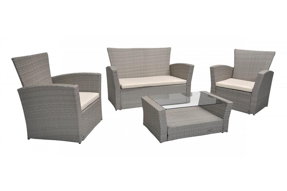 Salotto da giardino in rattan, set di divani da esterno in polyrattan tortora Aurora