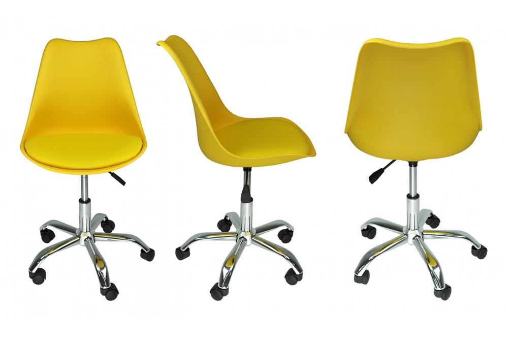 Sedia da ufficio girevole, sedia da scrivania gialla con ...