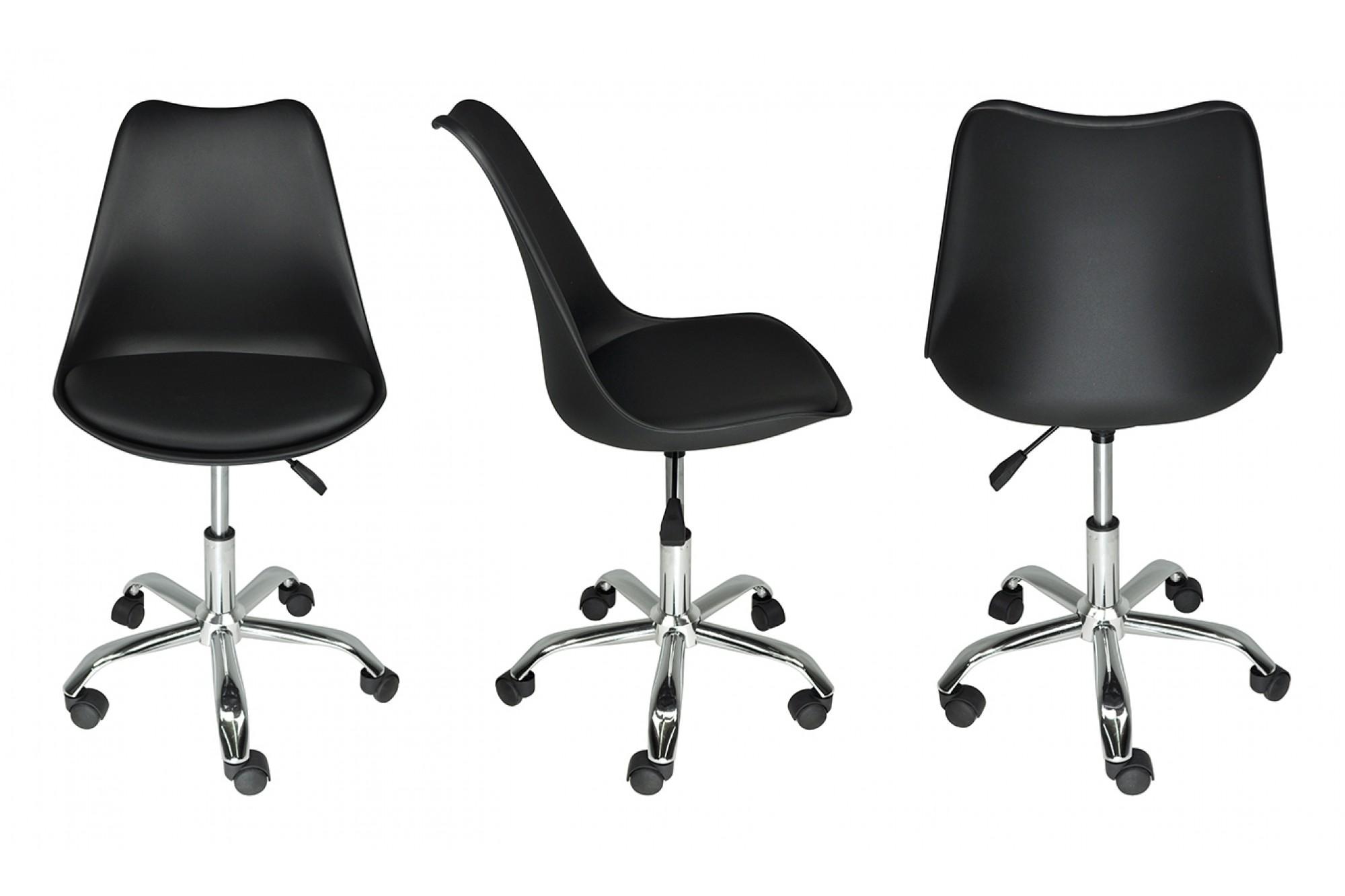 Sedia da ufficio girevole, sedia da scrivania nera con ...
