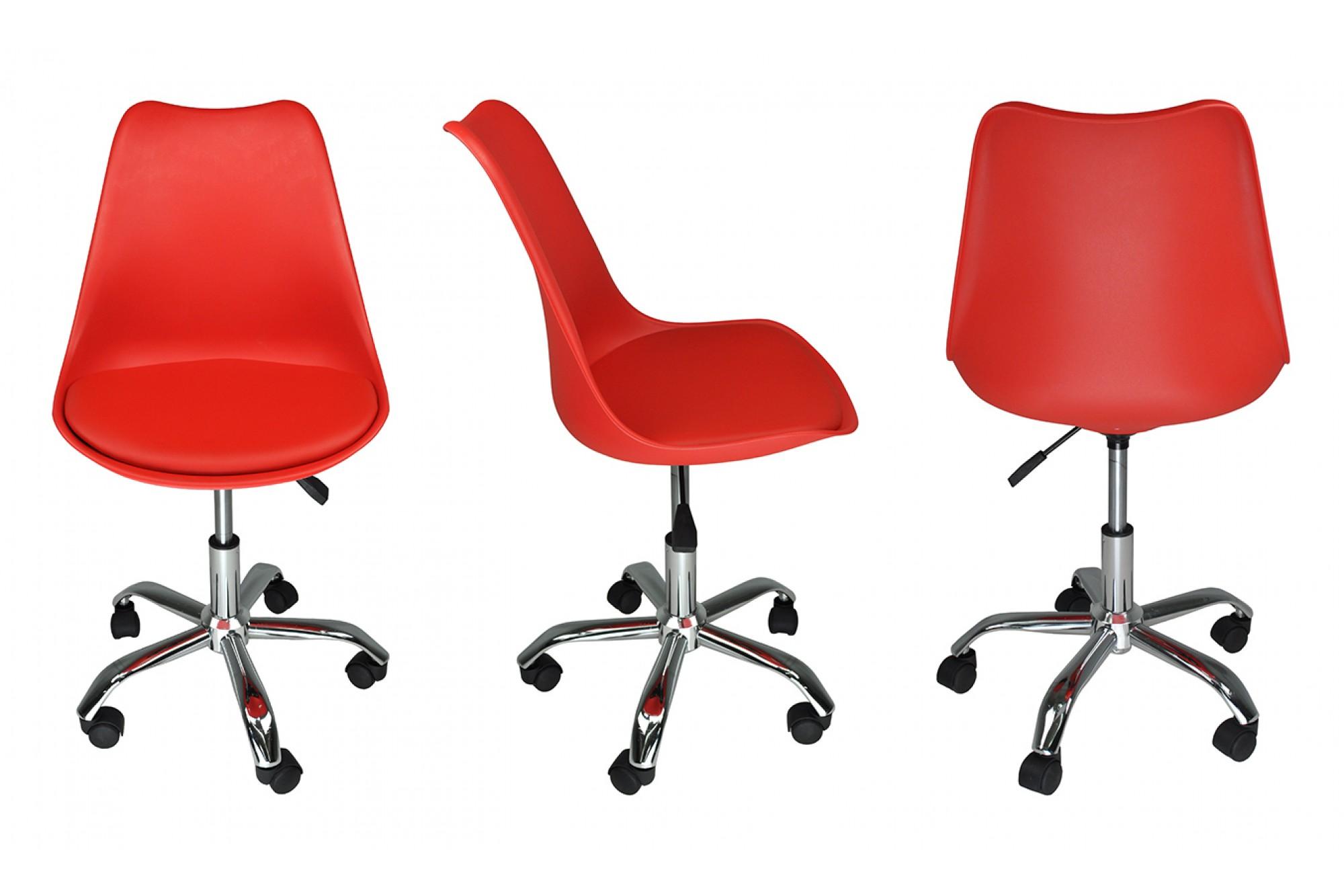 Sedia da ufficio girevole, sedia da scrivania rossa con ...