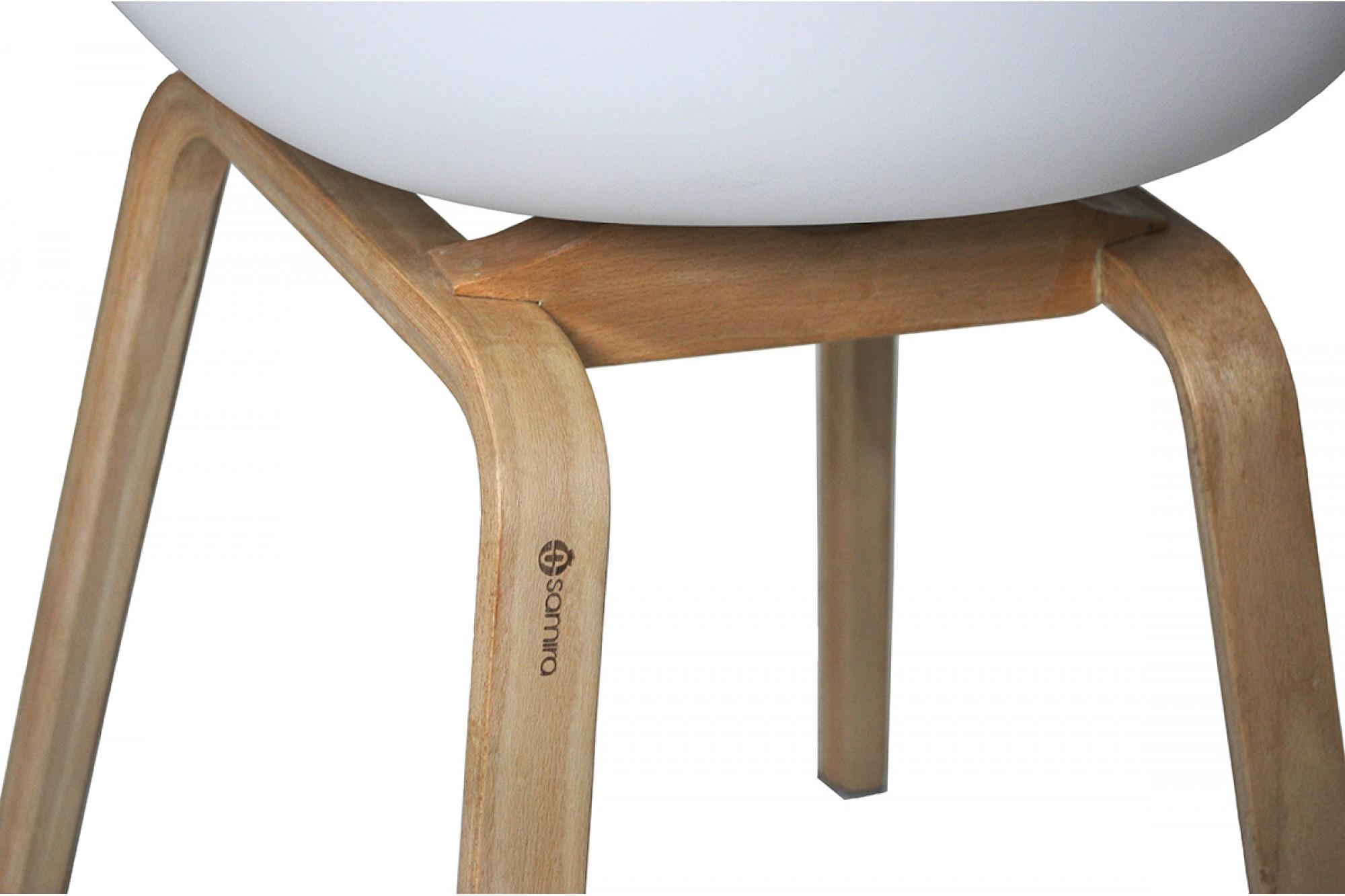 Sedia in plastica bianca Dorina con gamba, piede in legno