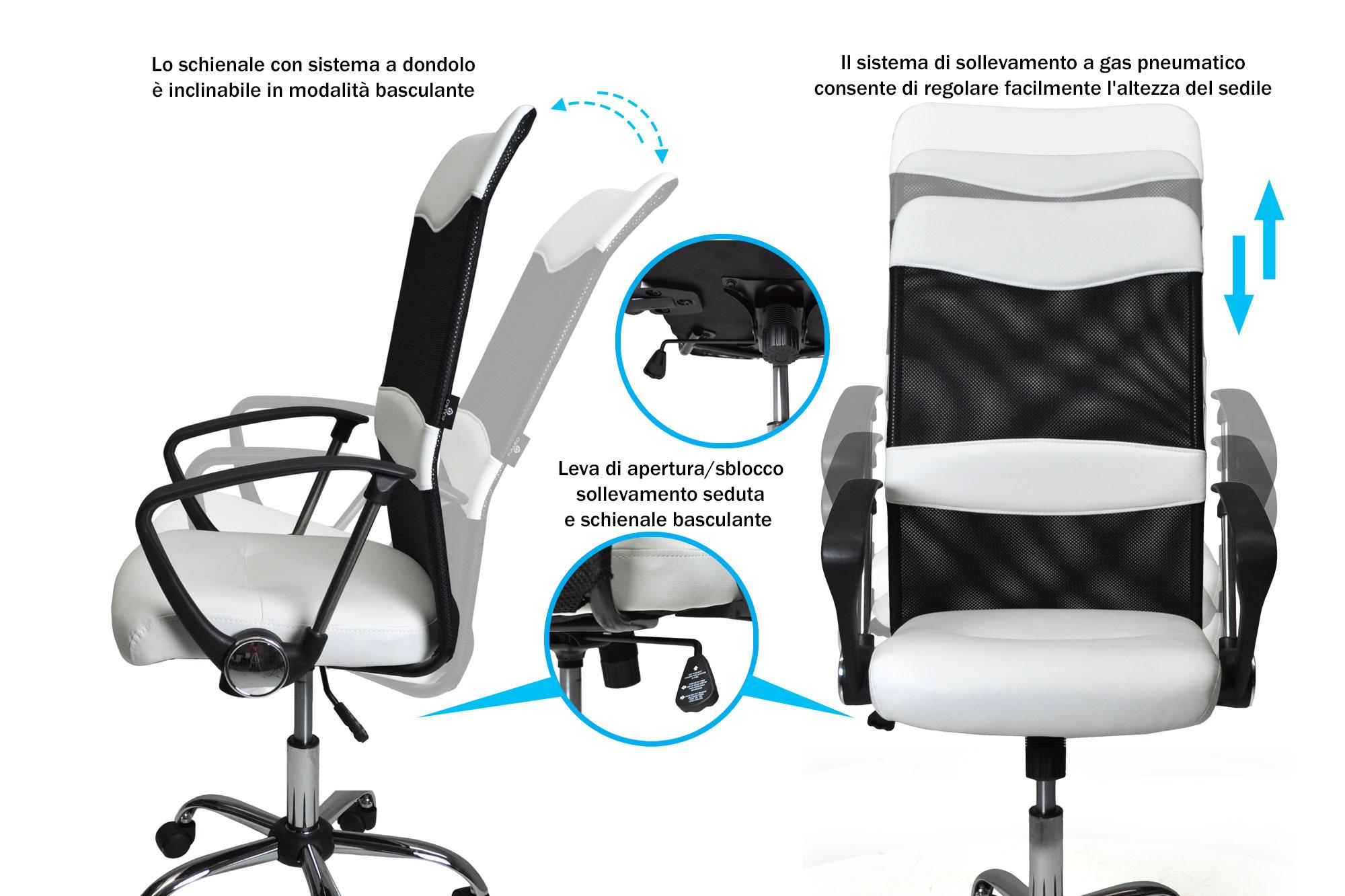 Sedia da ufficio in tessuto bianca - Samira Italia