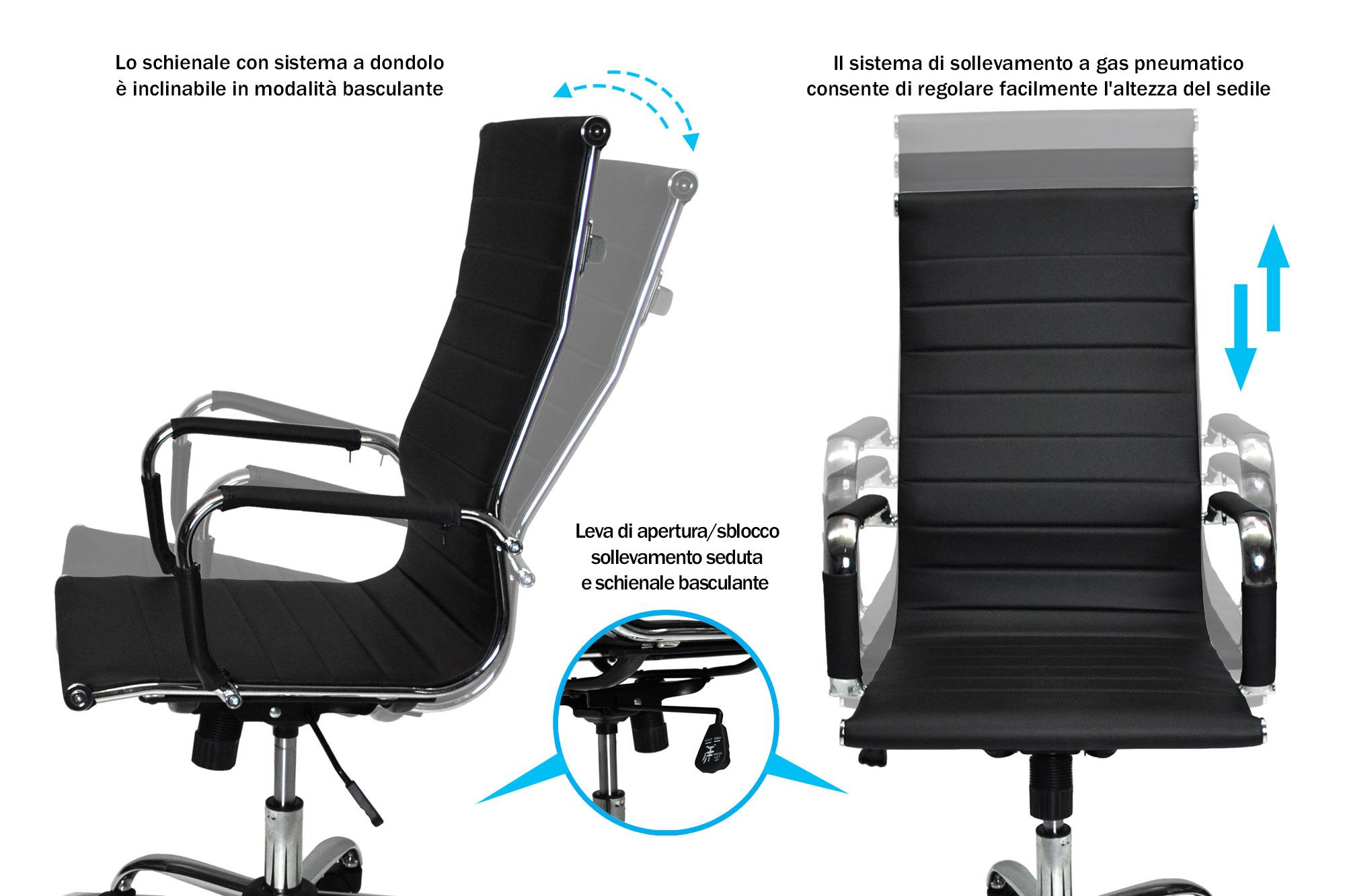 Sedia da ufficio in ecopelle nera - Samira Italia