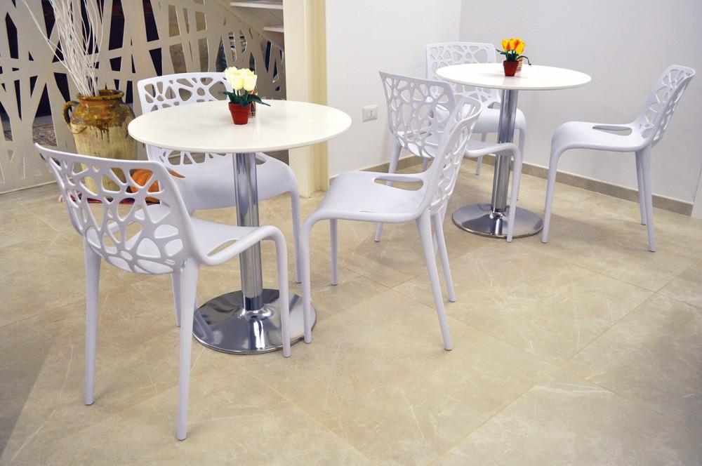 Tavolo rotondo 70 cm bianco, tavolino da bar mod. Romeo Arredo