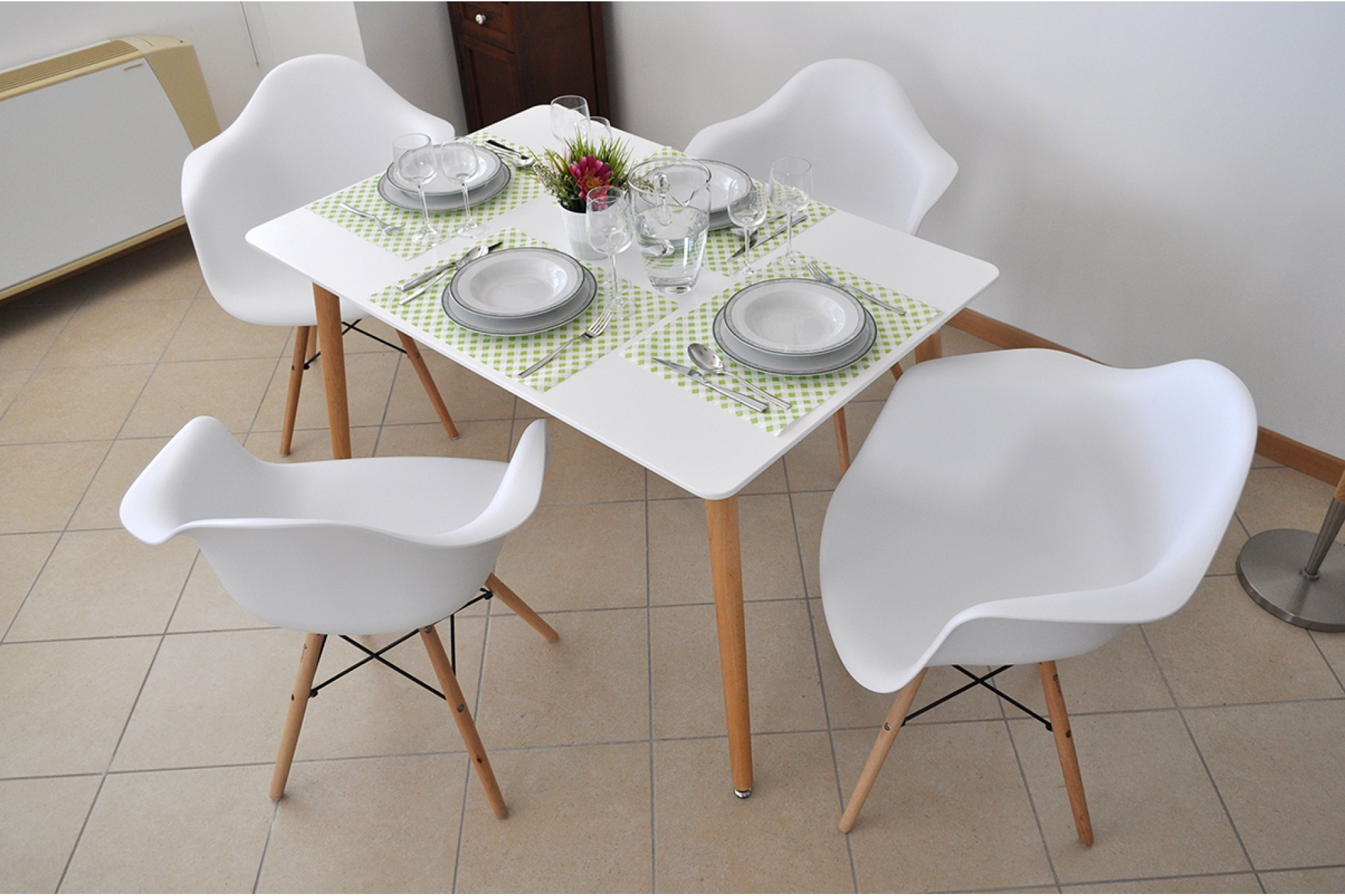 Tavolo da pranzo rettangolare, tavolo da cucina bianco mod ...