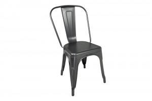 Sedia industriale in metallo grigio, sedia impilabile mod ...