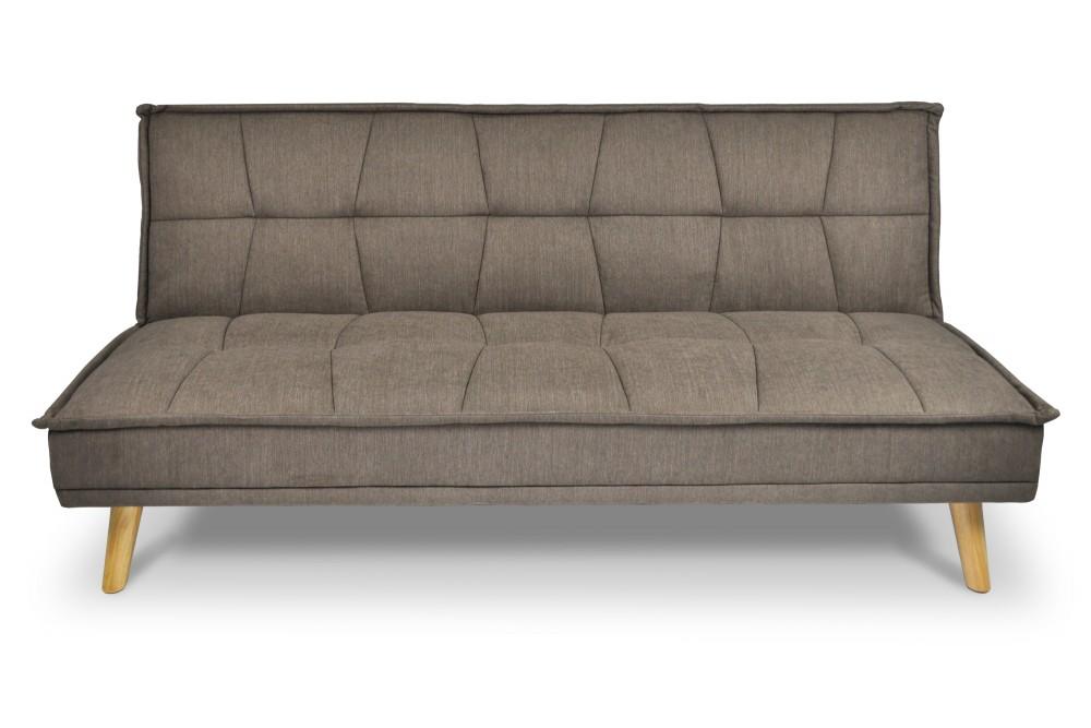 Divano letto clic clac in tessuto vellutato marrone, divano 3 posti mod. Bart Arredo