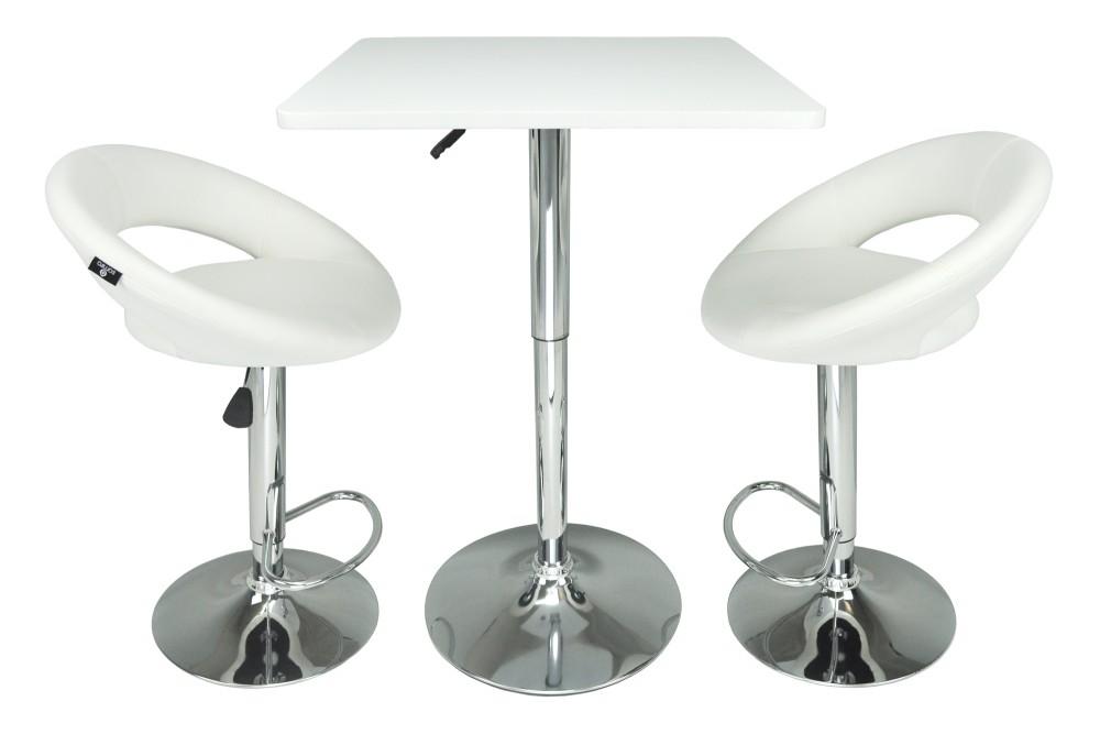 Tavolo regolabile in altezza quadrato 60×60 bianco, tavolo alto da bar Romeo Arredo
