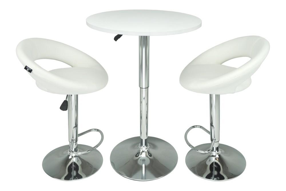 Tavolo regolabile in altezza rotondo 60 cm bianco, tavolino da bar mod. Romeo Arredo