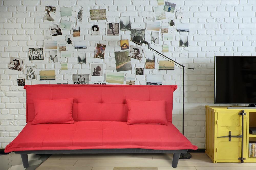 Divano letto clic clac in tessuto rosso – divanetto mod. Russell Arredo