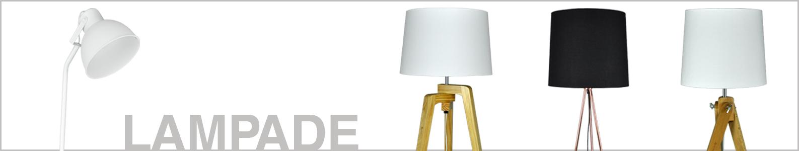 Lampada da tavolo con treppiede in legno, Abat jour mod. Aisha Arredo