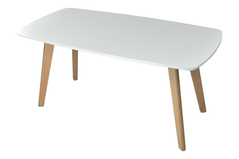 Tavolino da salotto mod. Pegaso con top bianco in mdf e piedi in legno Arredo