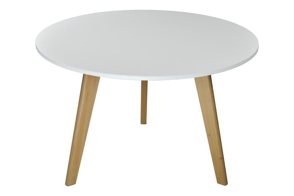 Tavolino rotondo da salotto mod. Oliver con top bianco in mdf e piedi in legno Arredo