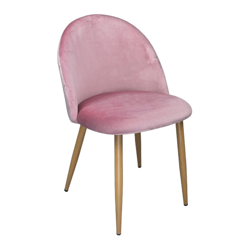 Sedia imbottita in velluto color carta da zucchero mod. Sophie Arredo