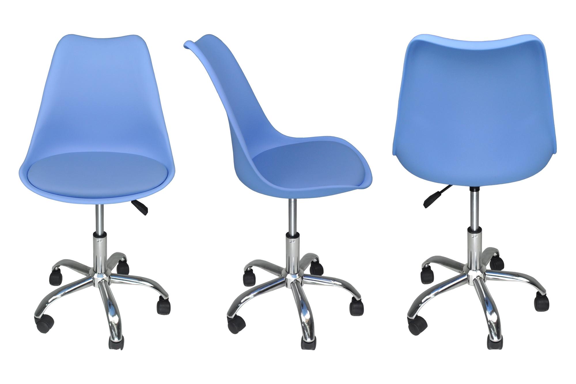 Sedia da ufficio girevole, sedia da scrivania celeste con ...