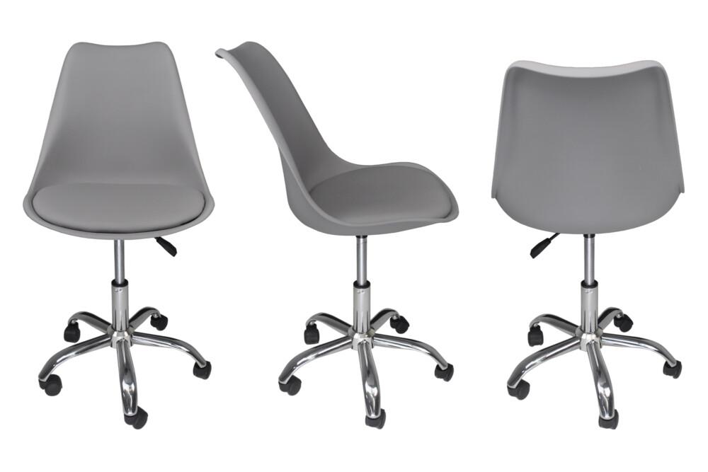 Sedia da ufficio girevole, sedia da scrivania grigia con rotelle mod. SALLY Novità 2020