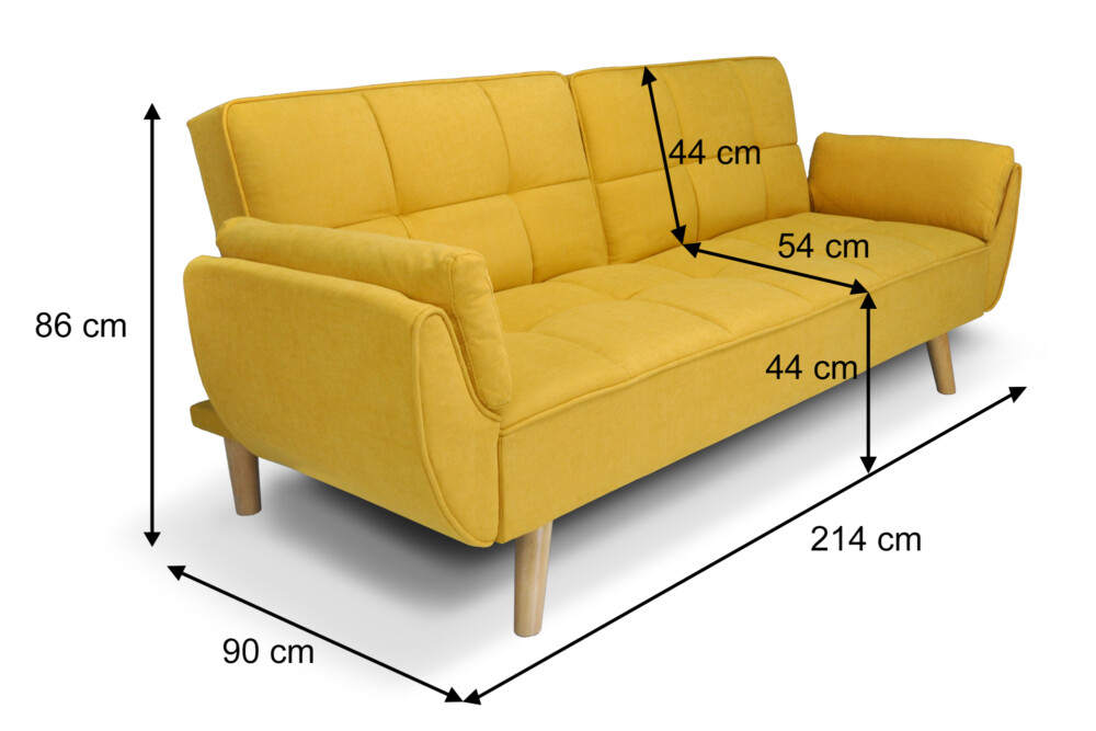 Divano letto clic clac in tessuto vellutato giallo, mod. Ambra Ambra