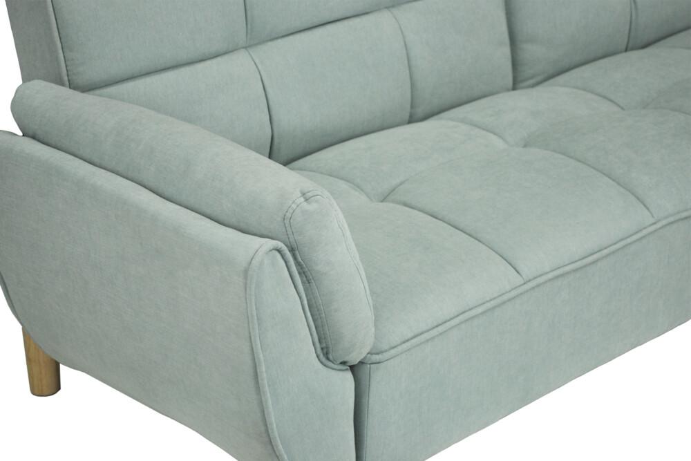 Divano letto clic clac in tessuto vellutato verde tiffany, mod. Ambra Ambra