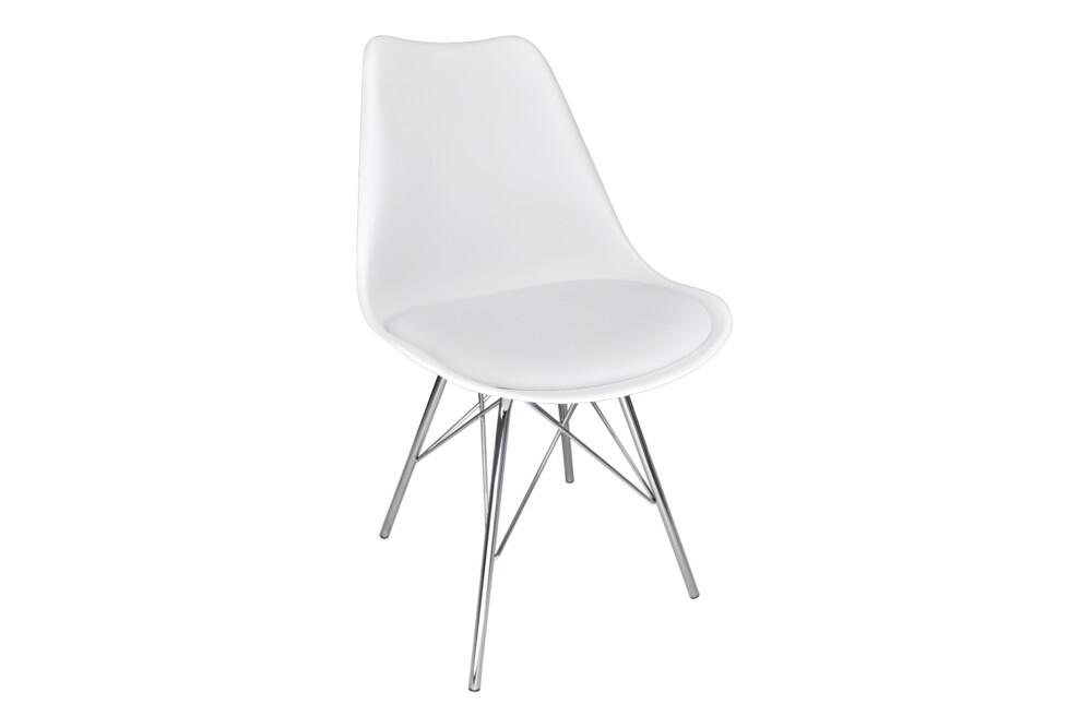 Sedia in polipropilene bianco e piede in metallo cromato mod. Alex Alex