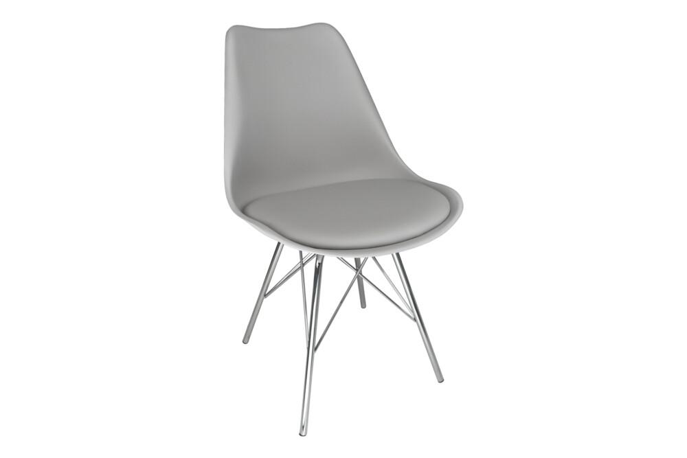 Sedia in polipropilene grigio e piede in metallo cromato mod. Alex Alex