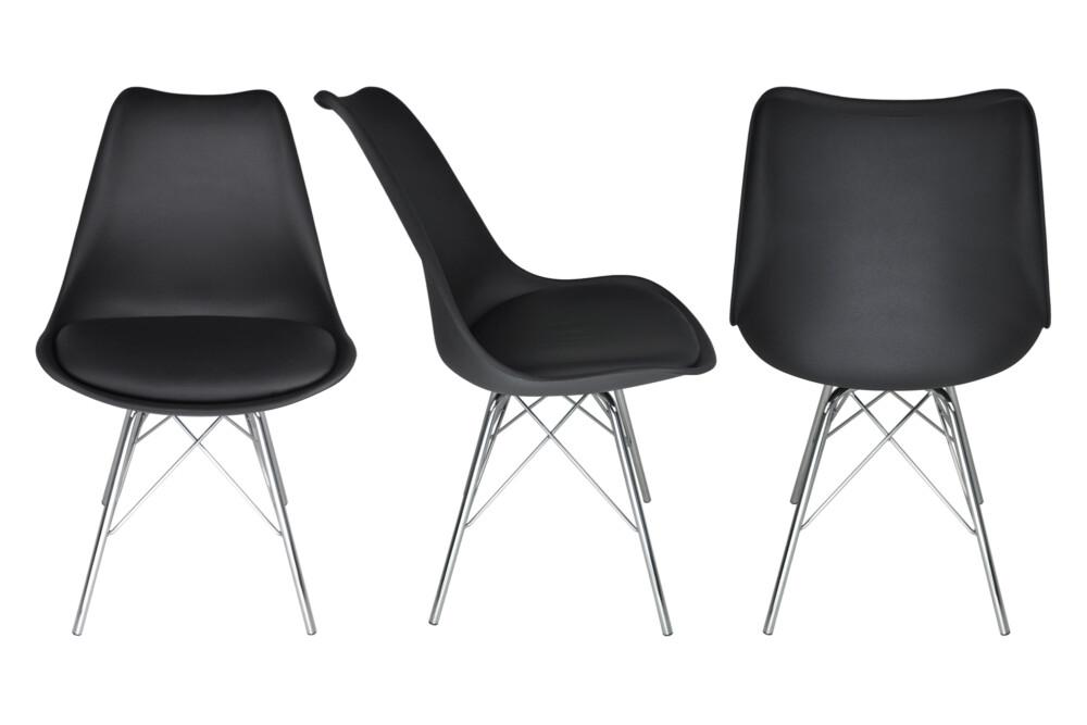 Sedia in polipropilene nero e piede in metallo cromato mod. Alex Alex