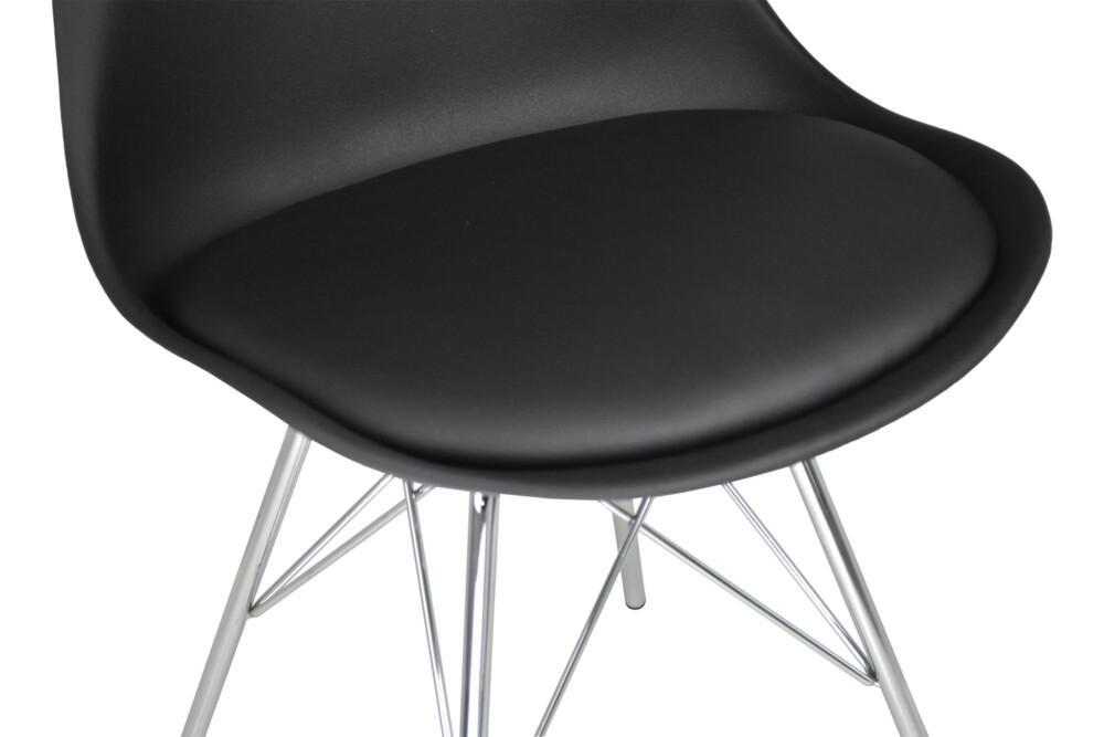 Sedia in pp nero e piede in metallo cromato mod. Alex Alex