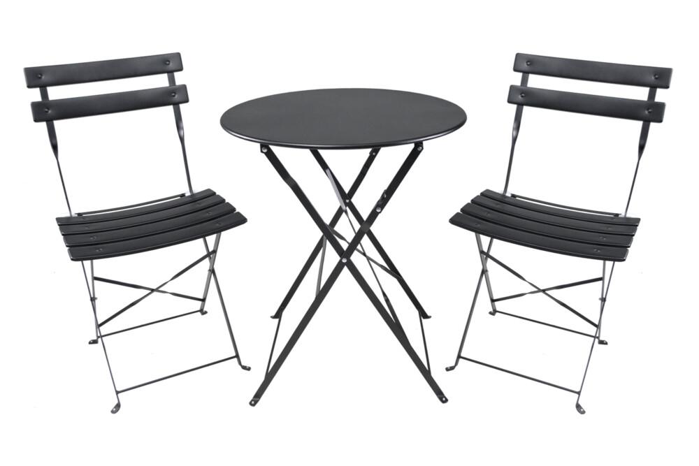 Set tavolo e sedie da giardino pieghevoli, set tavolo e sedie da esterno nero mod. Positano Giardino