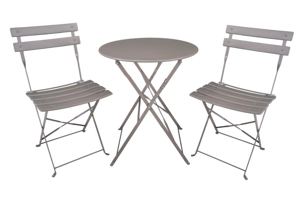 Set tavolo e sedie da giardino pieghevoli, set tavolo e sedie da esterno tortora mod. Positano Giardino
