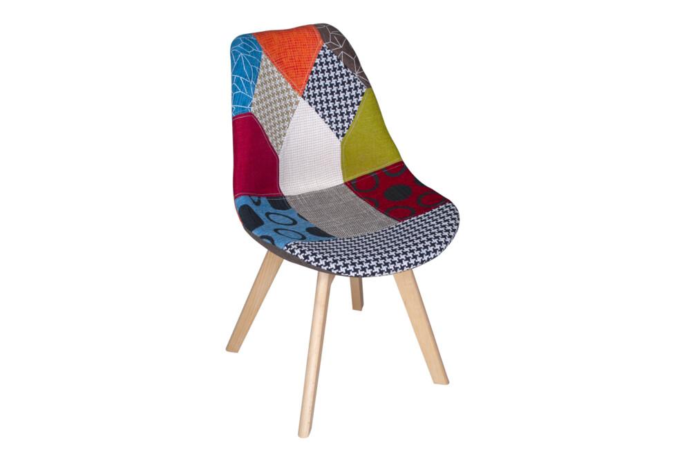 Sedia imbottita in tessuto patchwork con gamba in legno mod. Mia Arredo
