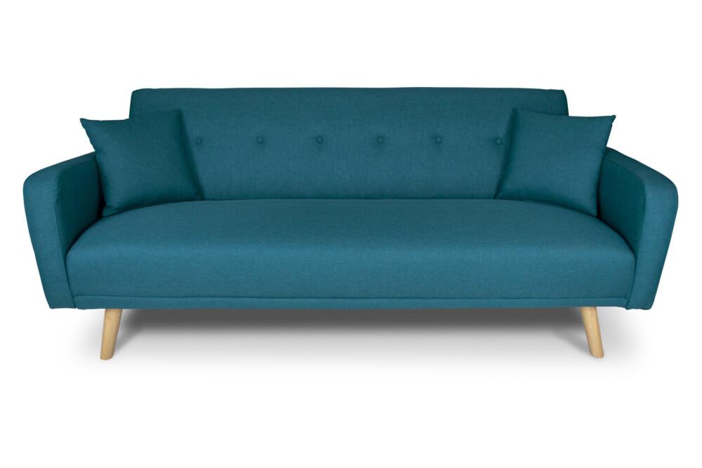 Divano letto clic clac in tessuto blu petrolio, divano 3 posti mod. Henry Arredo
