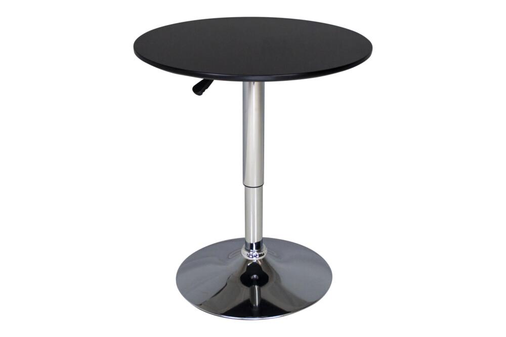 Tavolo regolabile in altezza rotondo 60 cm nero, tavolino da bar mod. Romeo Arredo