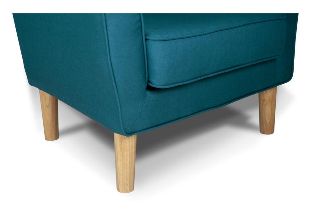 Poltrona in tessuto blu petrolio e piedi in legno naturale mod. Narciso Arredo
