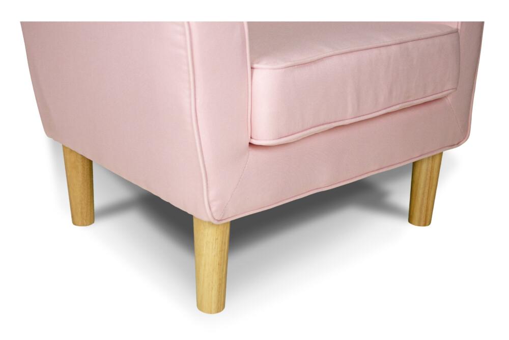 Poltrona in tessuto rosa e piedi in legno naturale mod. Narciso Arredo